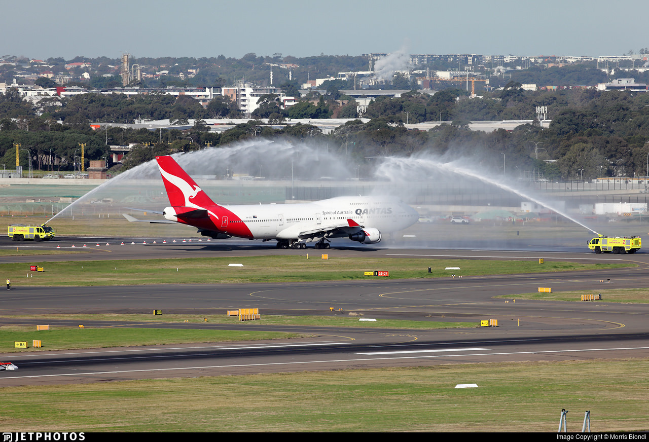 Water salute before departure