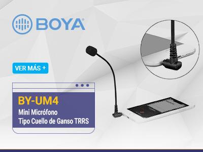 Boya BY-UM4 Mini Micrófono Tipo Cuello de Ganso TRRS Para Teléfonos