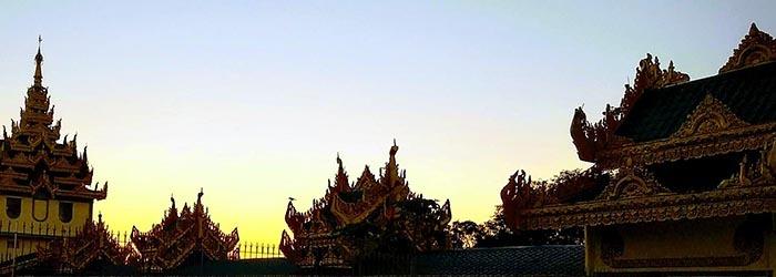 rooftops, sunset in Burma