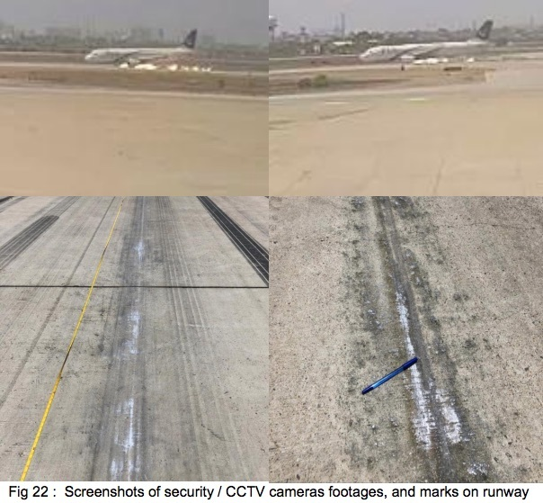 Pakistan Airlines flight 8303 scraping its engines along the runway and the resulting scrape marks