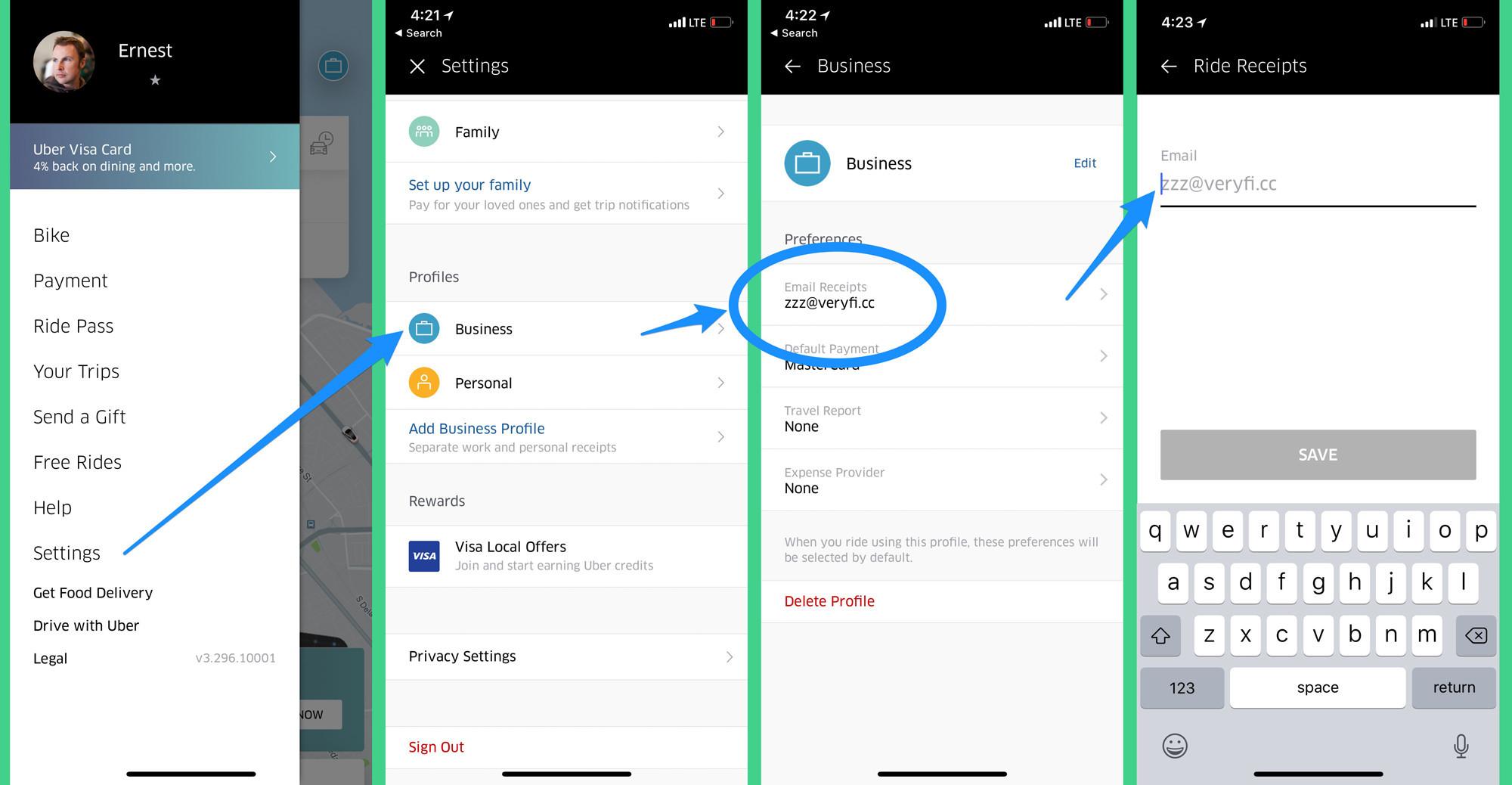 Send Uber Receipts to Veryfi