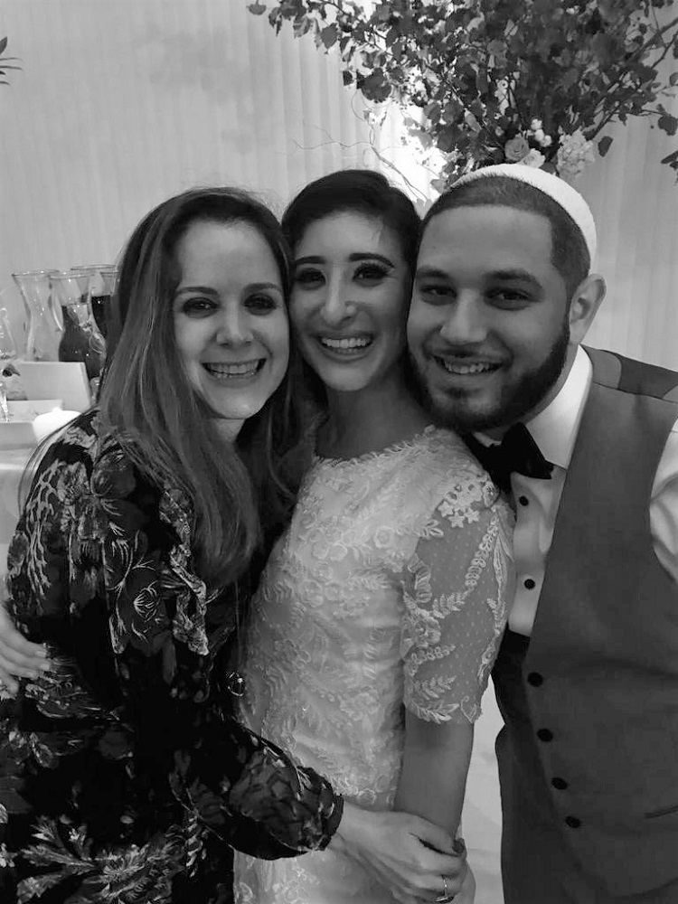 Shevy with Shmaya and Yocheved at their wedding