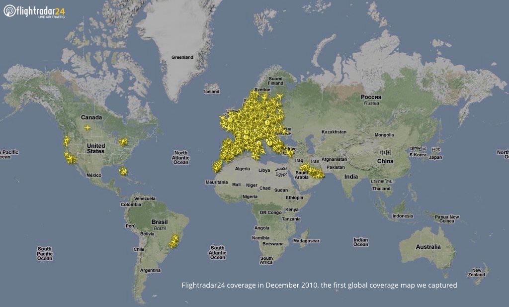 Flightradar24 coverage in December 2010