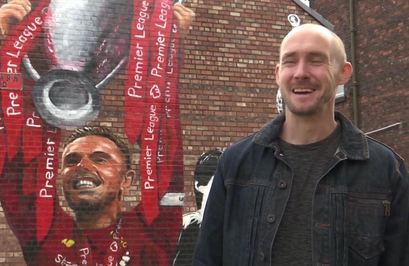 Artist creates giant Jordan Henderson mural to celebrate Liverpool's EPL title