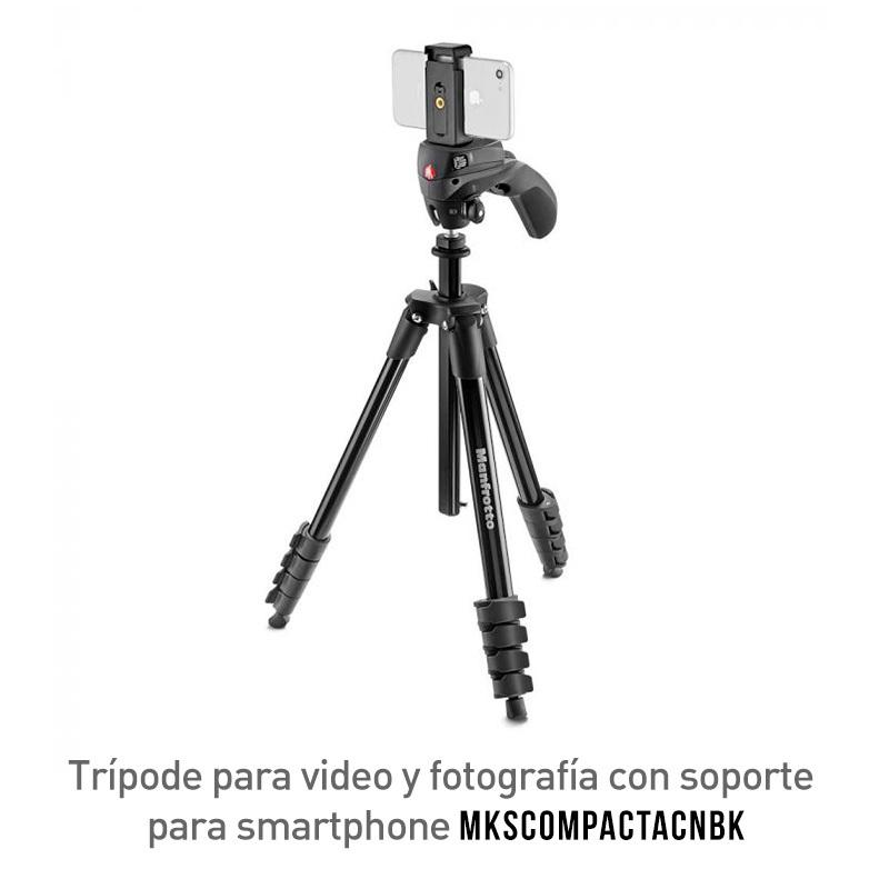 Manfrotto Trípode Compact Action Smart Para Cámaras y Teléfonos MKSCOMPACTACNBK