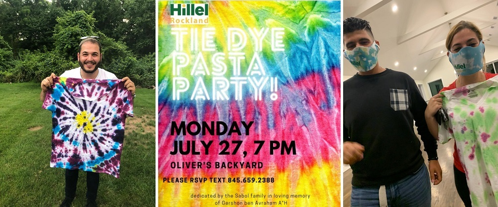 Tie Dye Pasta Party flyer and tie dye creations