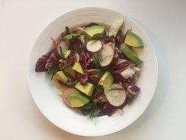 Salad with radicchio radish avocado tahini dressing