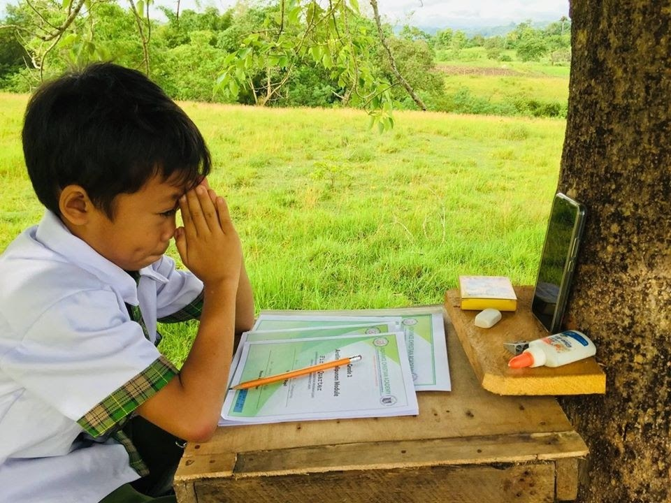 "A young student in Bohol, Philippines is seen taking his lessons through a borrowed smartphone in a ""tree house"" his family built on top of a hill where the cell signal is strong enough"