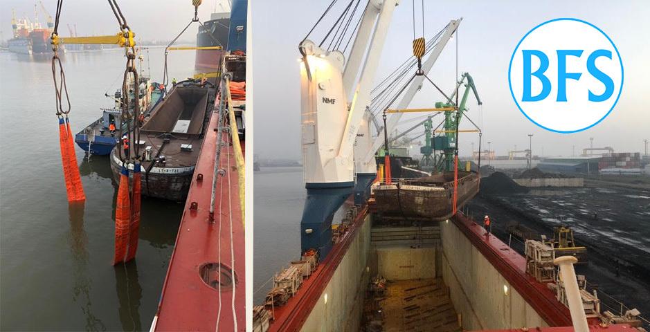 Loading barges in Klaipeda