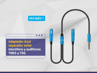 Adaptador Azul separador señal micrófono y audifonos TRRS a TRS