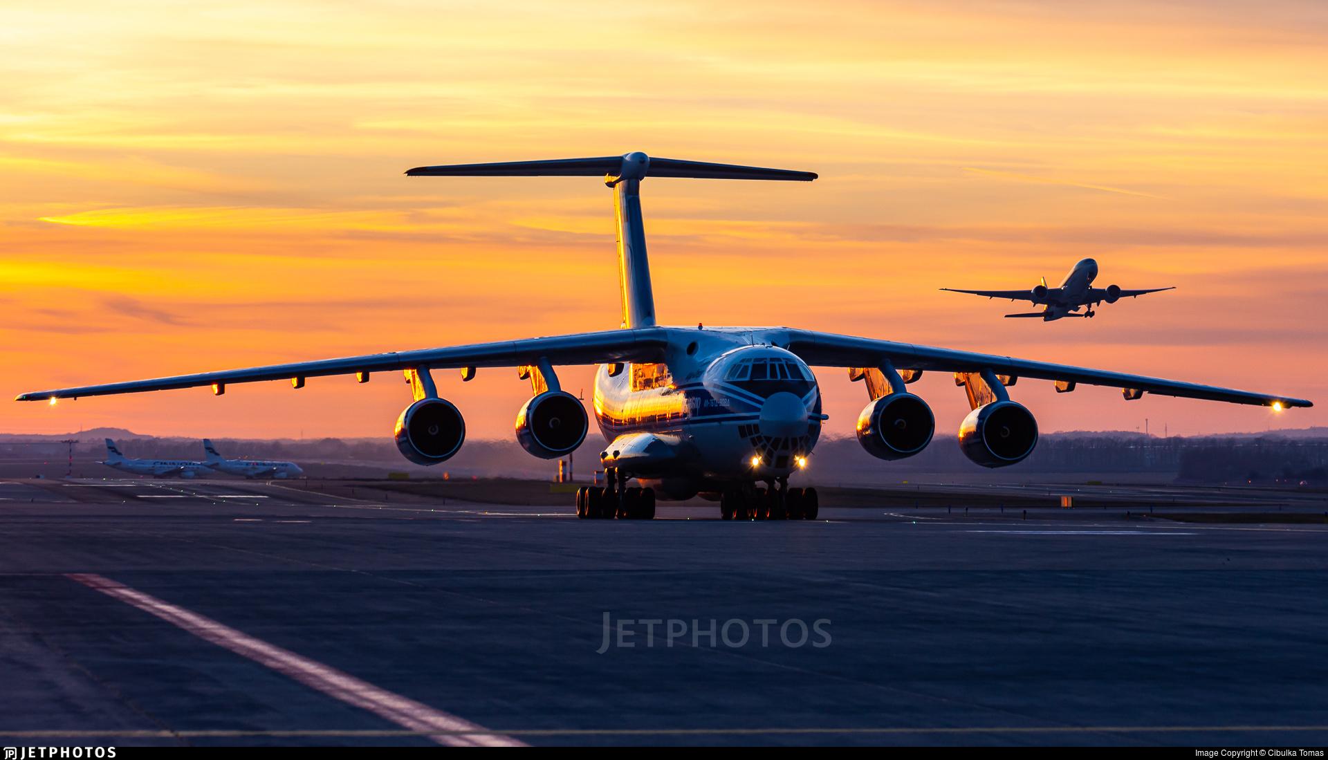 An IL-76 taxiing to parking after landing