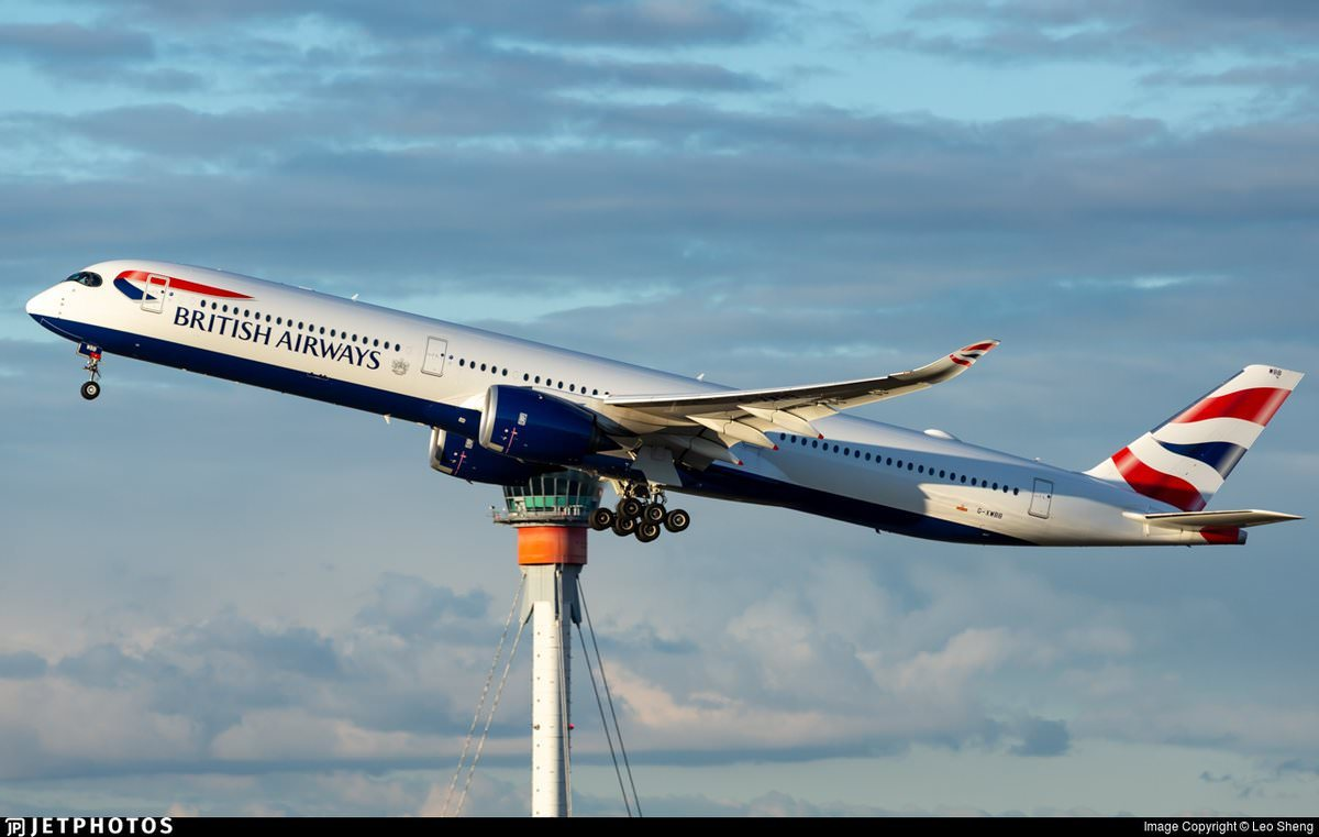 A British Airways A350 departing London