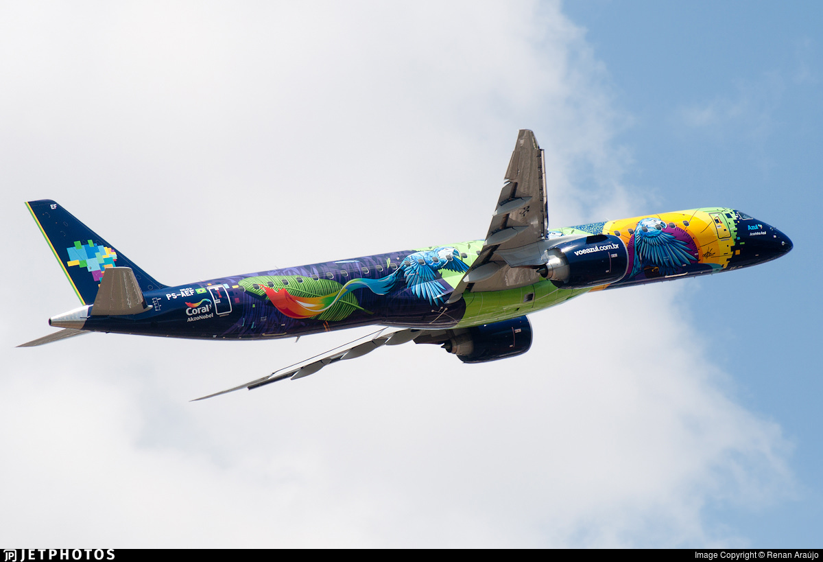 Azul's new E195-E2 'Ararinha Azul' aircraft in colorful special livery