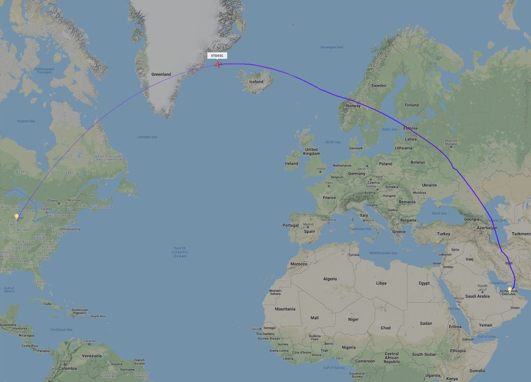 A flight following the great circle path between Abu Dhabi and Chicago
