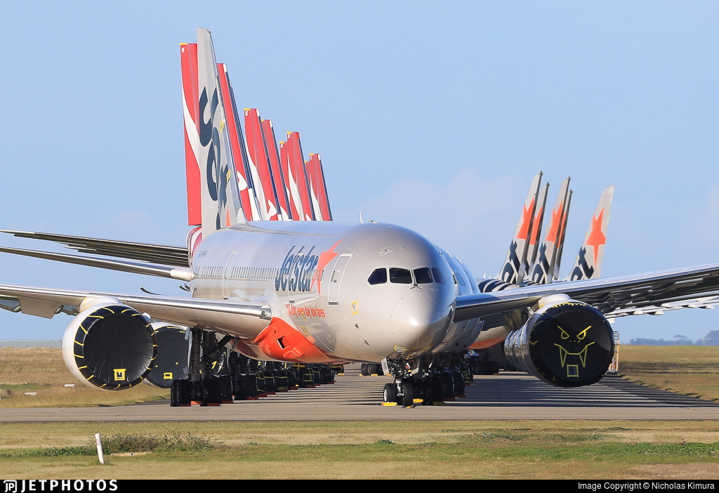 Jetstar and Qantas aircraft stored in Australia