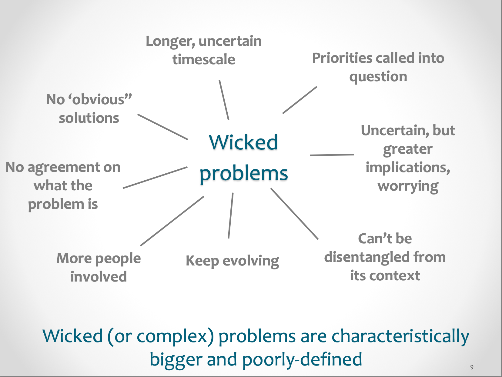 Wicked (or complex) problems are characteristically bigger and poorly defined