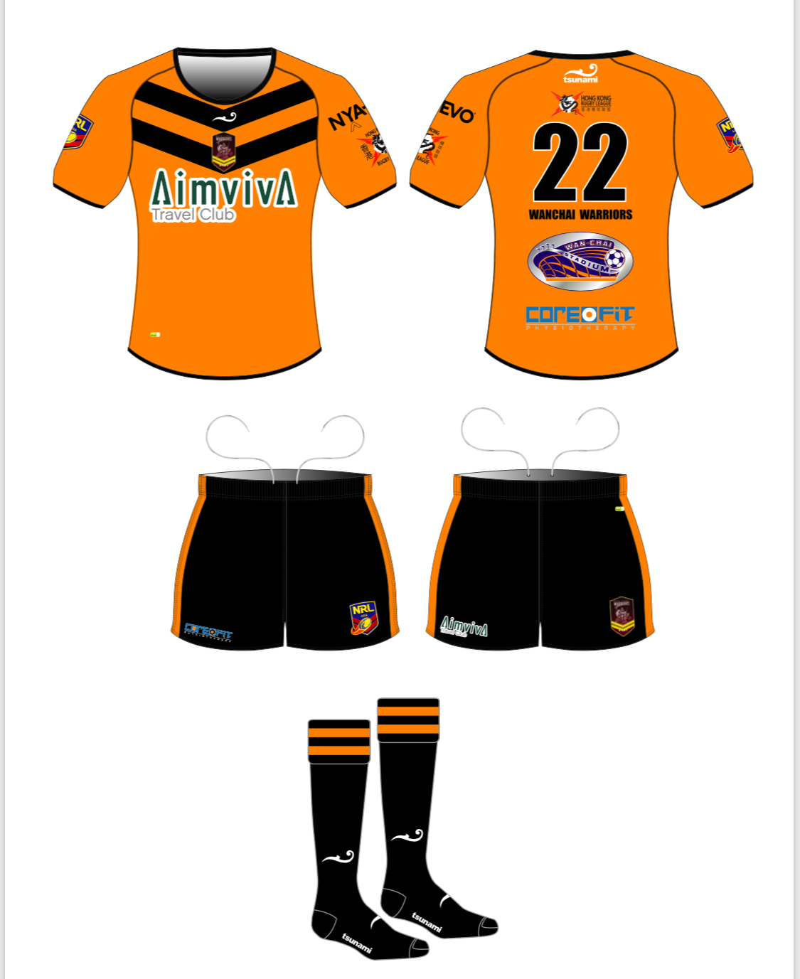 Wanchai Warriors Rugby Kit 2018 Sponsored by The Aimviva Travel Club
