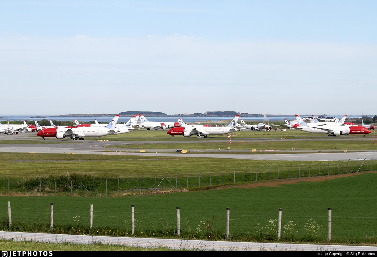 Norwegian aircraft stored in Stavanger