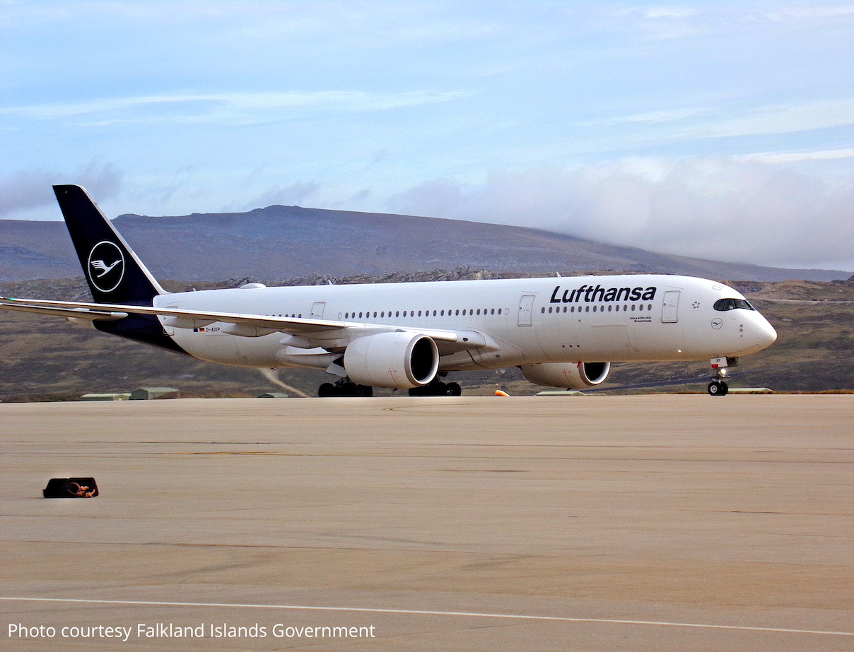Lufthansa A350 taxiing at Mount Pleasant airport on the Falkland Islands