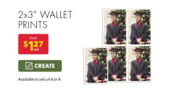 "2x3"" wallet prints from $1.27 each. Available in sets of 4 or 9. Create."