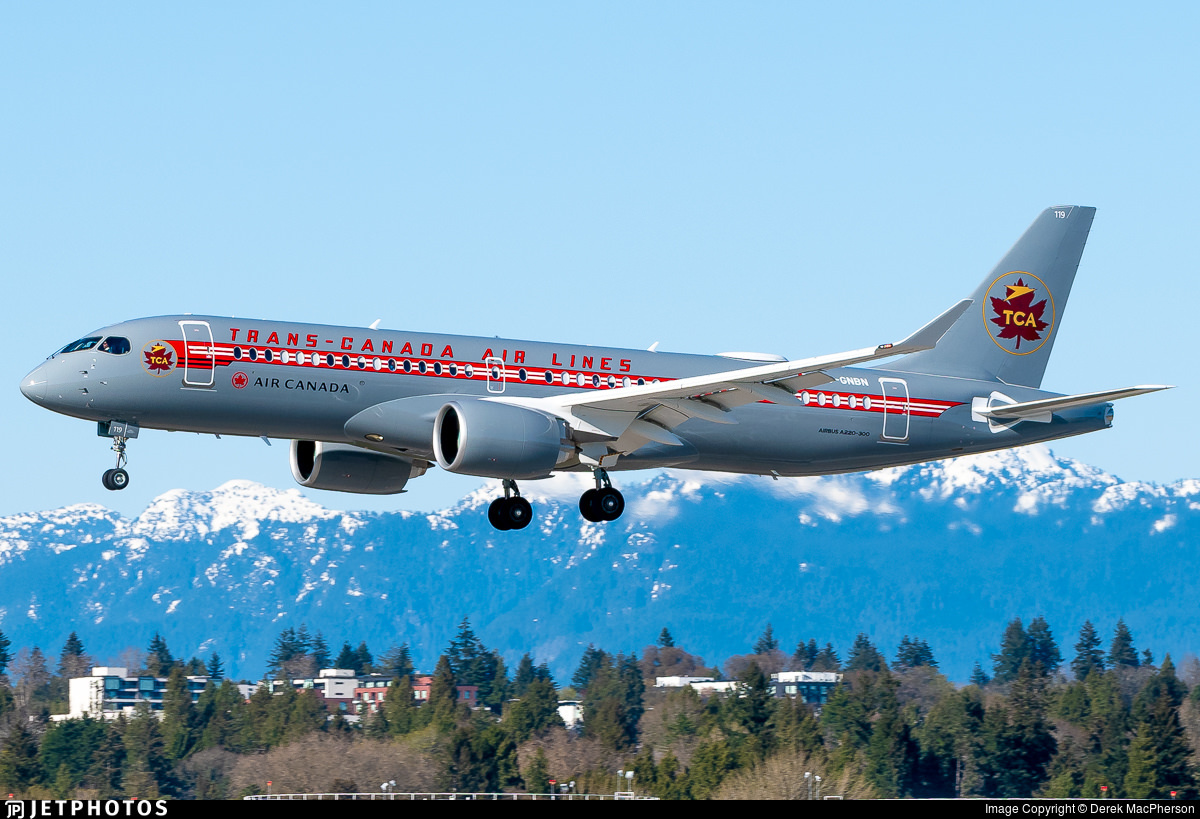 Air Canada's Trans-Canada Air Lines retro jet livery A220