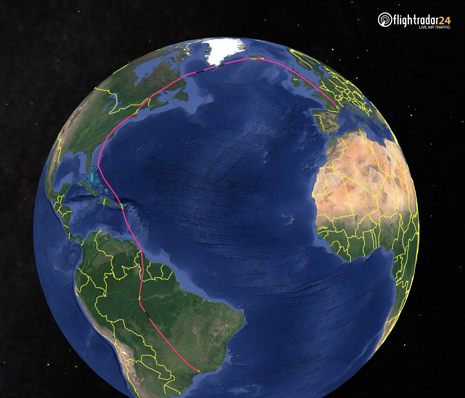 N135WF's flight path from Brazil to France
