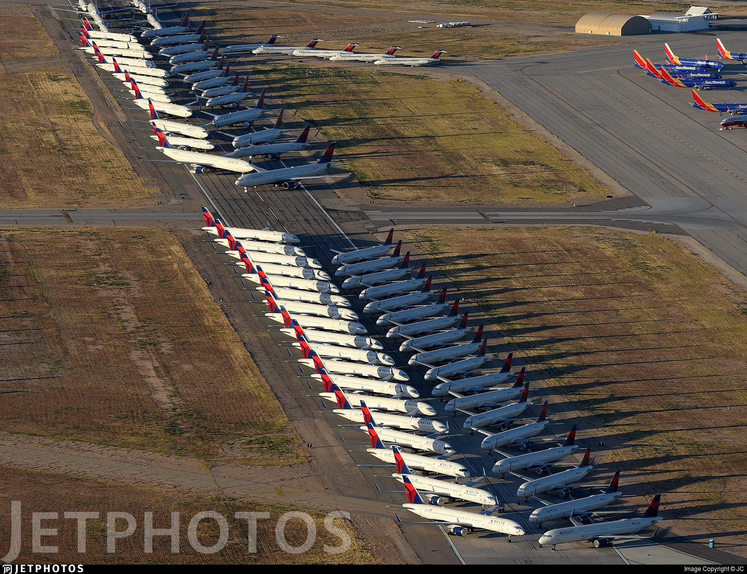 Delta aircraft in storage at Victorville