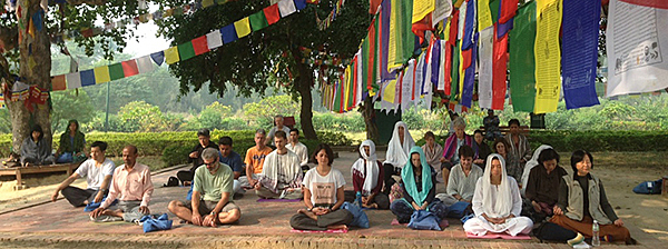 Meditators in Lumbini