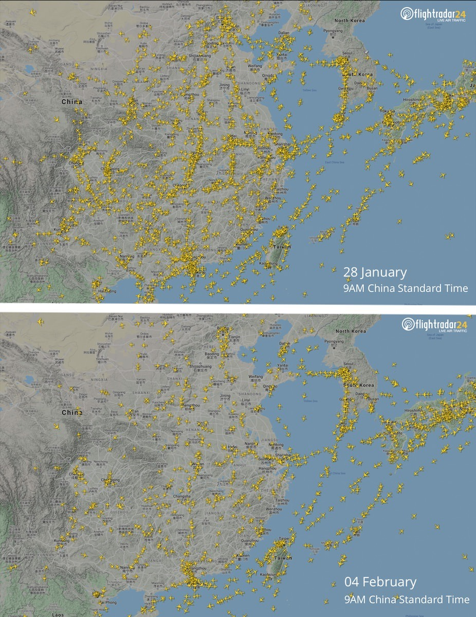 Flights over China on 28 January compared to 4 February