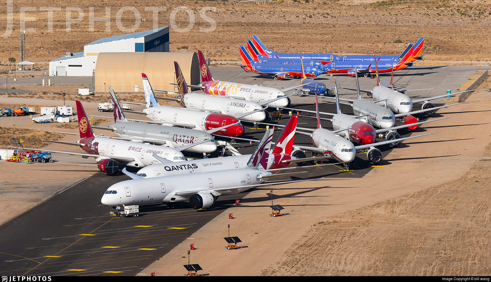 Undelivered Boeing 787 aircraft in storage in Victorville