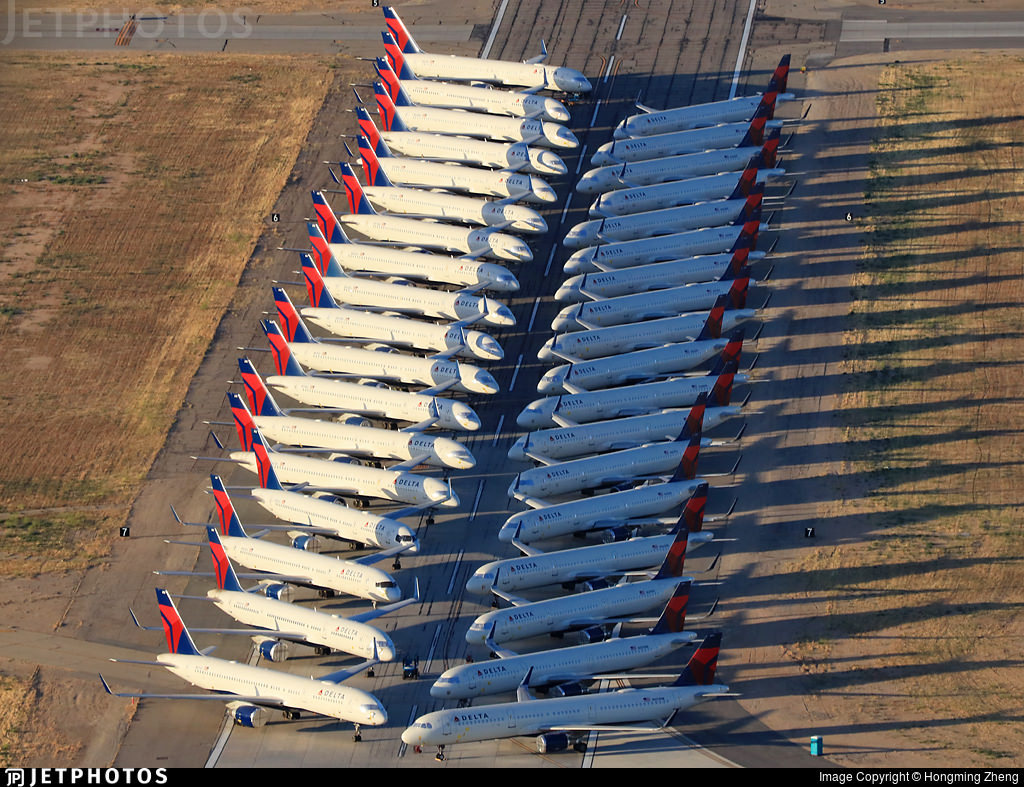 Delta Air Lines aircraft in storage