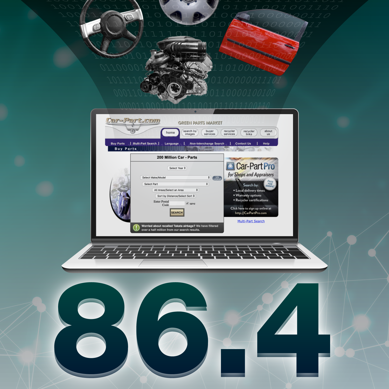 """Computer displaying the Car-Part.com website, and """"86.4"""" below it."""