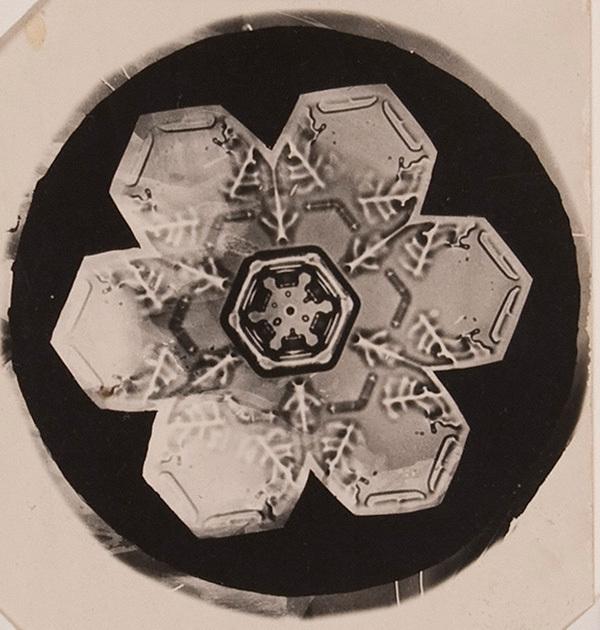 A photomicrograph of a hexagonal plate snowflake