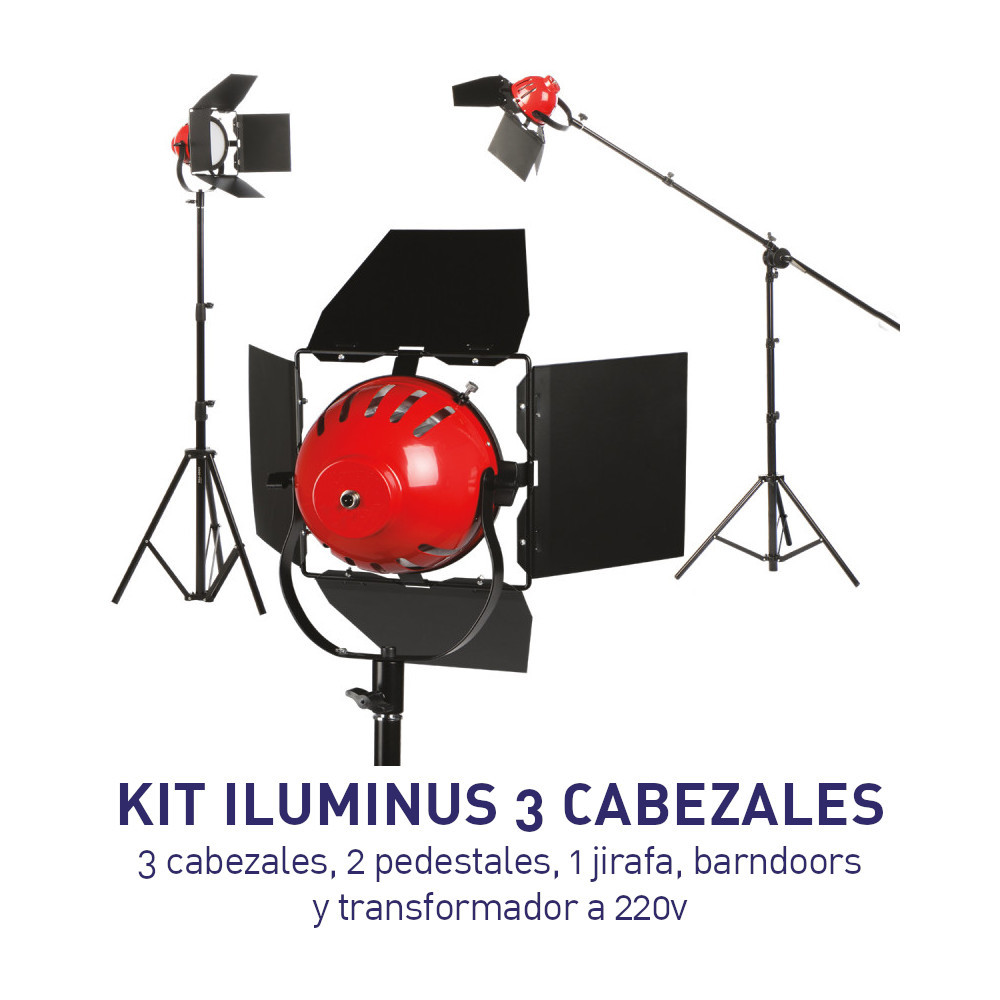 KIT - Iluminus - 3 LUCES RedHead Led Light Cabezal de Luz Led con Barndoor y difusor y Jirafa