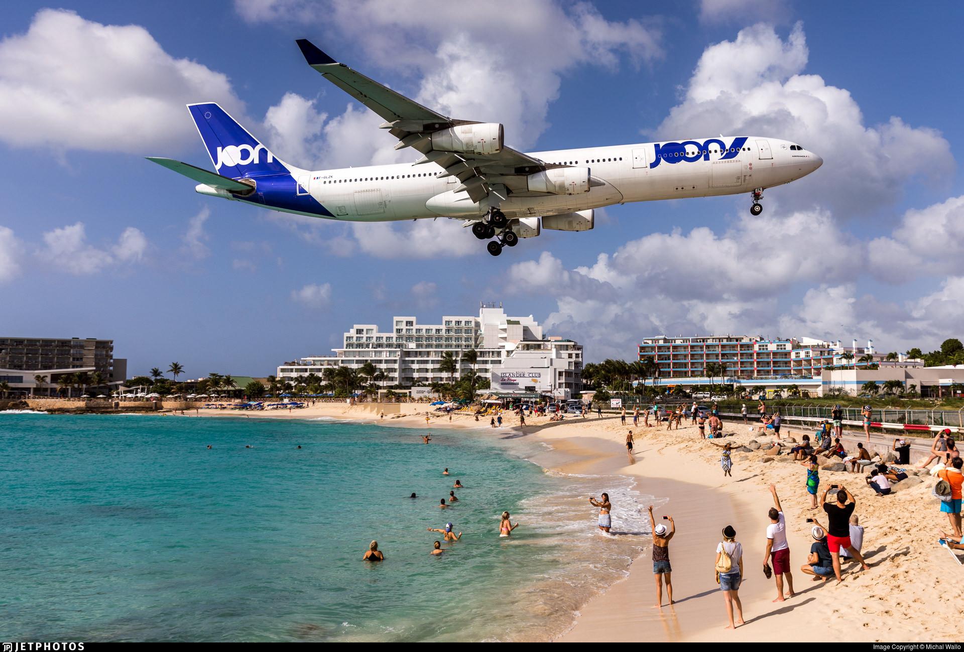 An Air France A340 in Joon livery landing in St Maarten