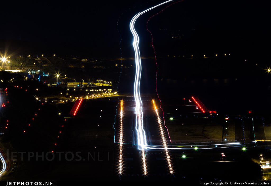 Long exposure photograph of an A330 landing at Madeira's Funchal aiport