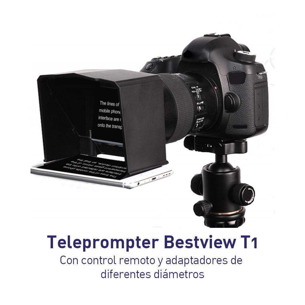 Teleprompter Bestview T1 Con control remoto y adaptadores para lentes de distintos diámetros