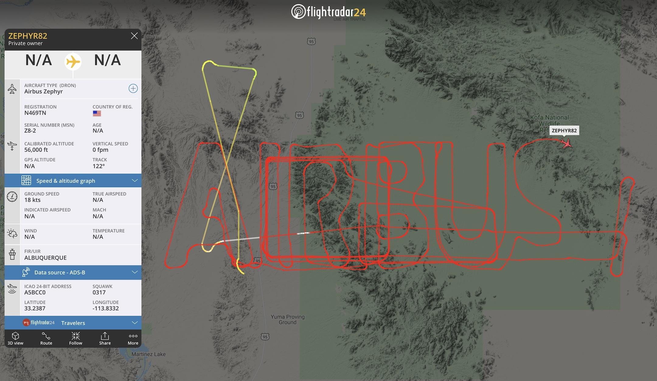 "Airbus Zephyr drawing ""AIRBUS"" in the sky"