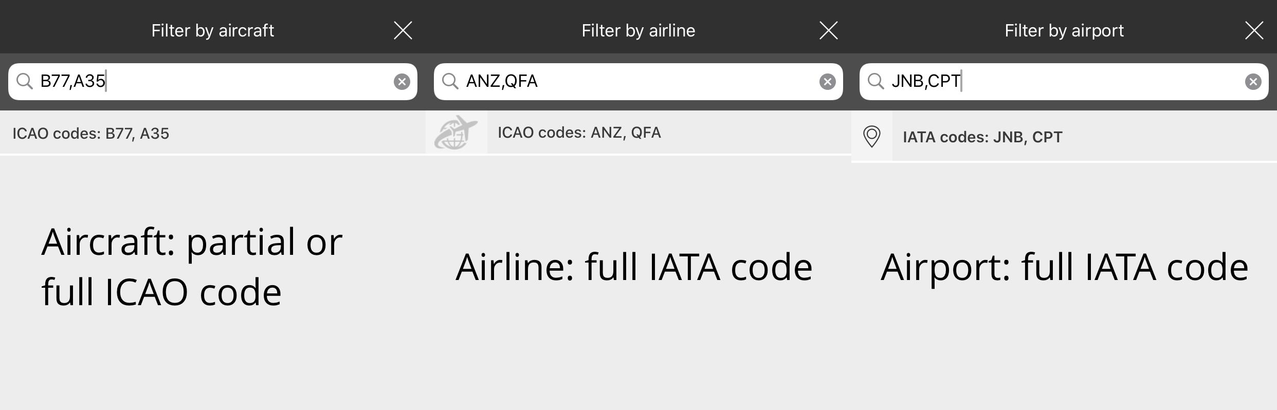 Filtering options in the Flightradar24 app