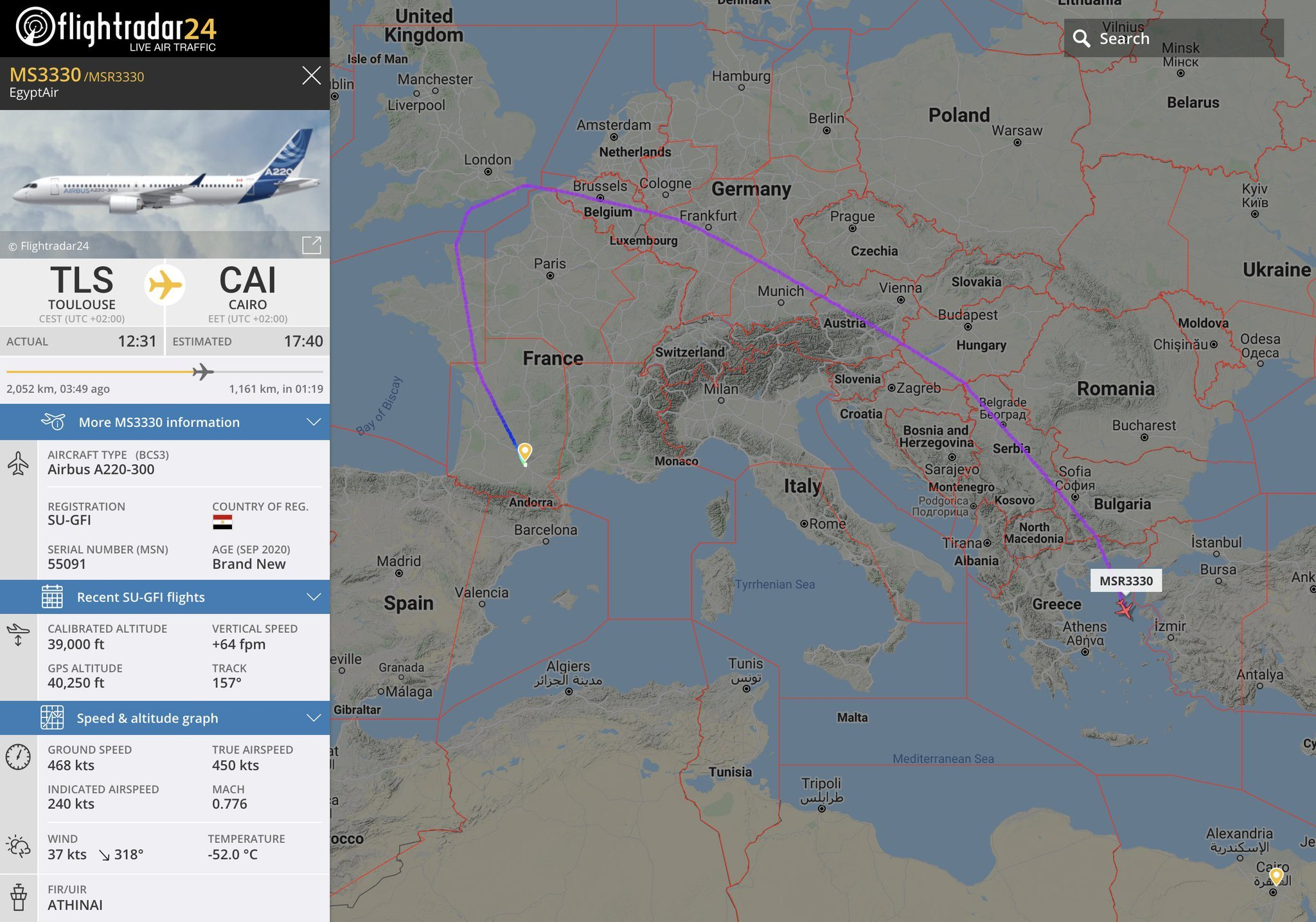 EgyptAir A220 delivery flight path