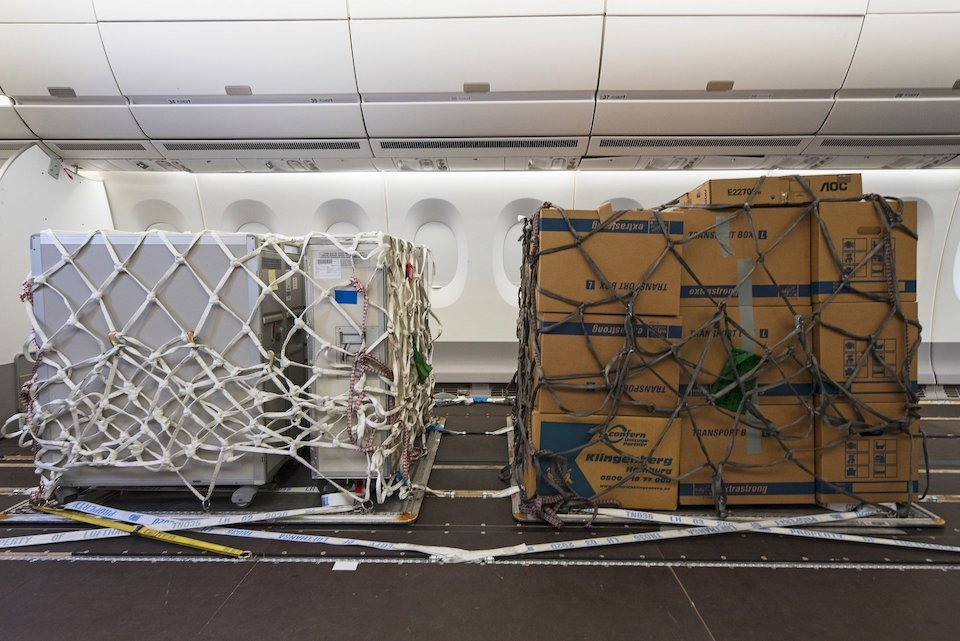 Airbus' modified cabin interior for cargo pallets