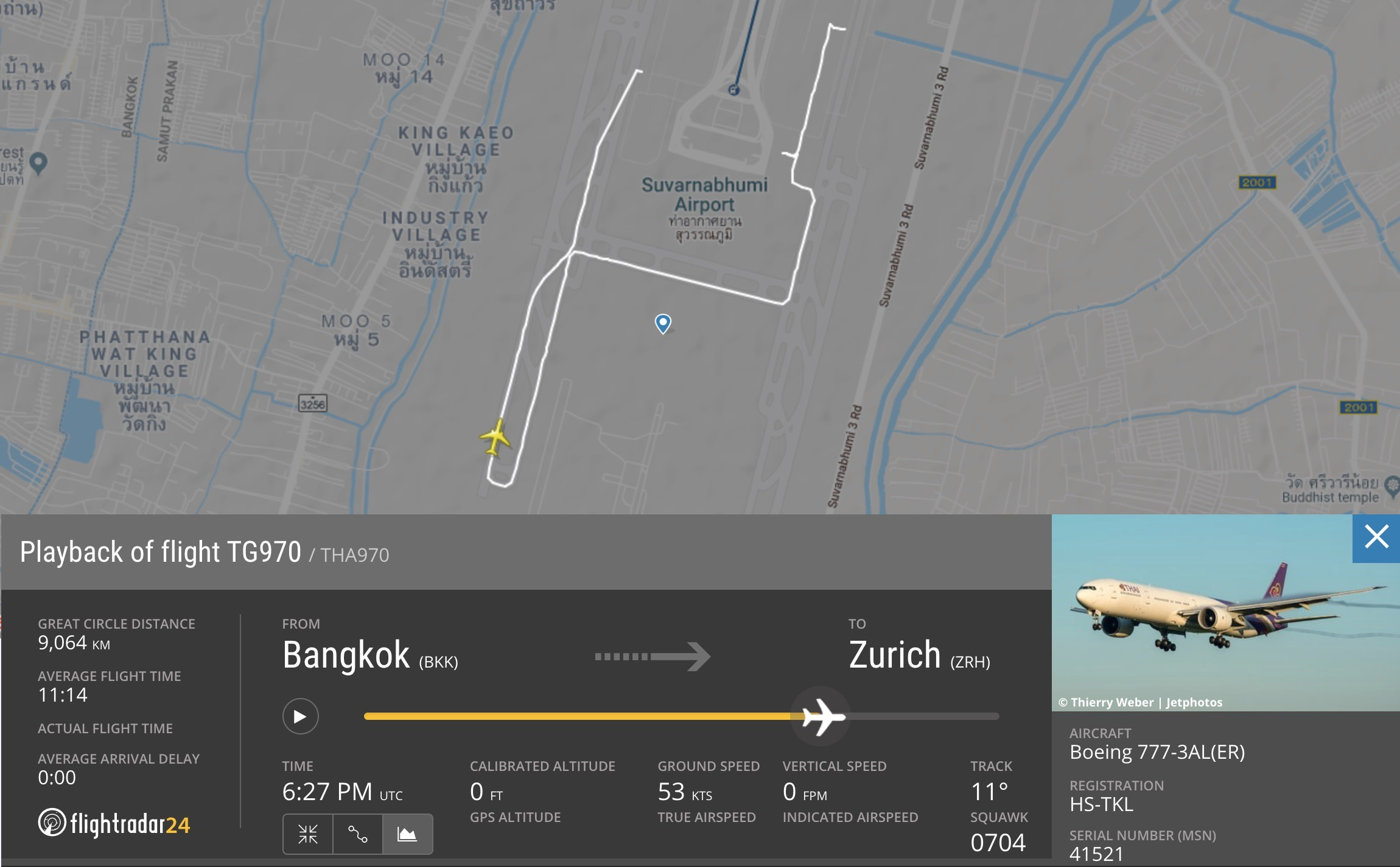 Path of TG970 engine failure rejected takeoff
