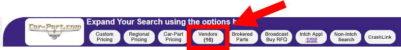 """Header from Trading Partners page with navigation buttons. An arrow pointing to the """"Vendors"""" button"""