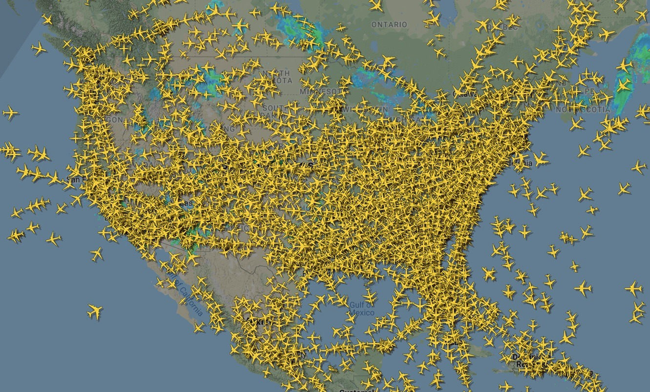 Post-Thanksgiving flights above the US