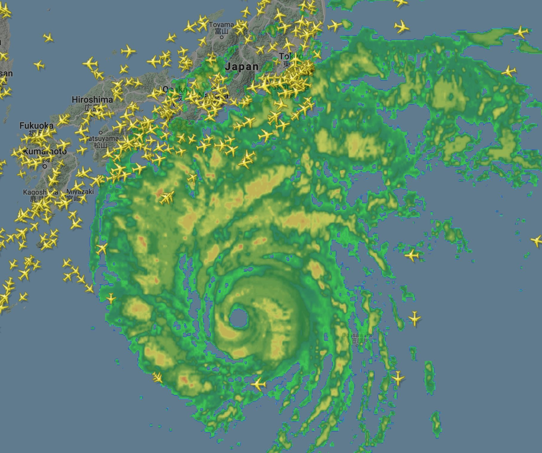 Super Typhoon Hagabis approaching Japan