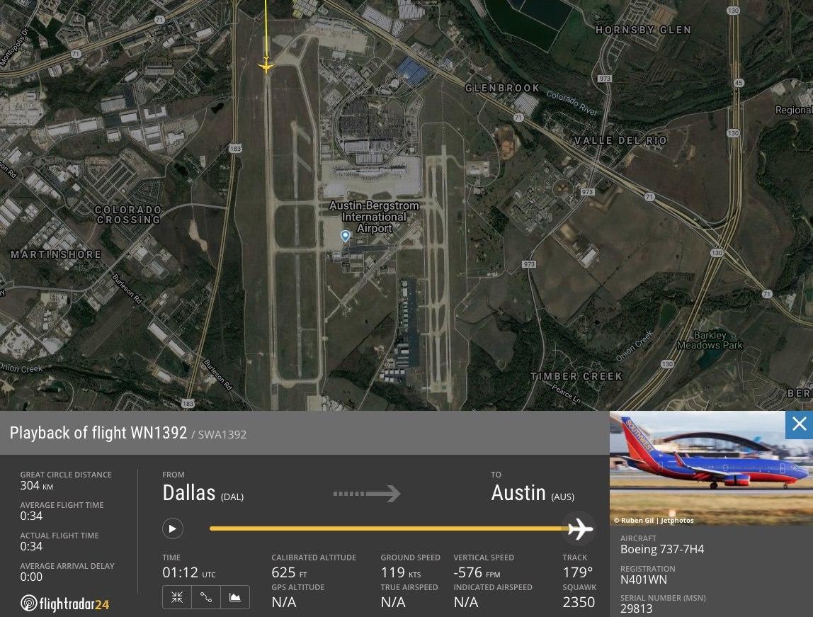 Southwest 1392 flight path