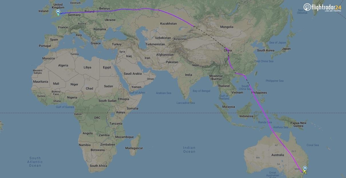 Qantas' London to Sydney Flight Path