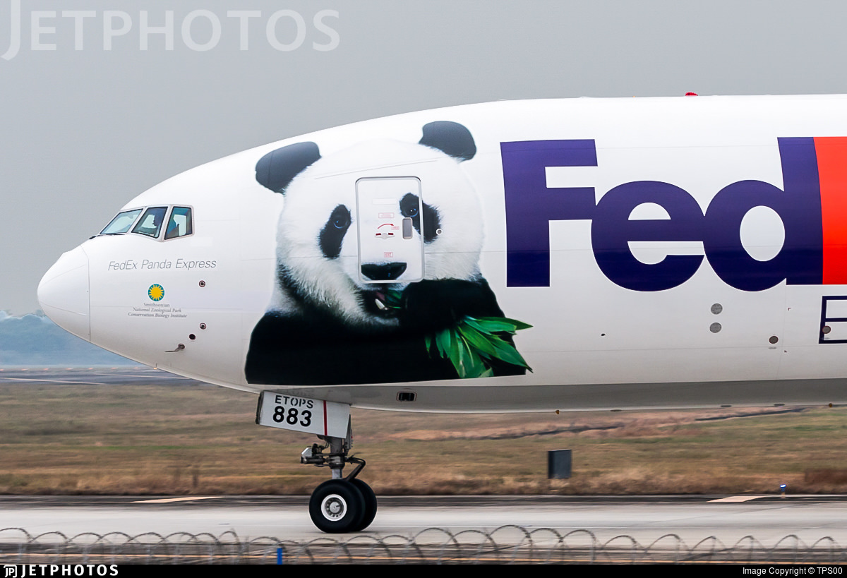 Bei Bei the giant panda on the side of a FedEx 777 carrying Bei Bei