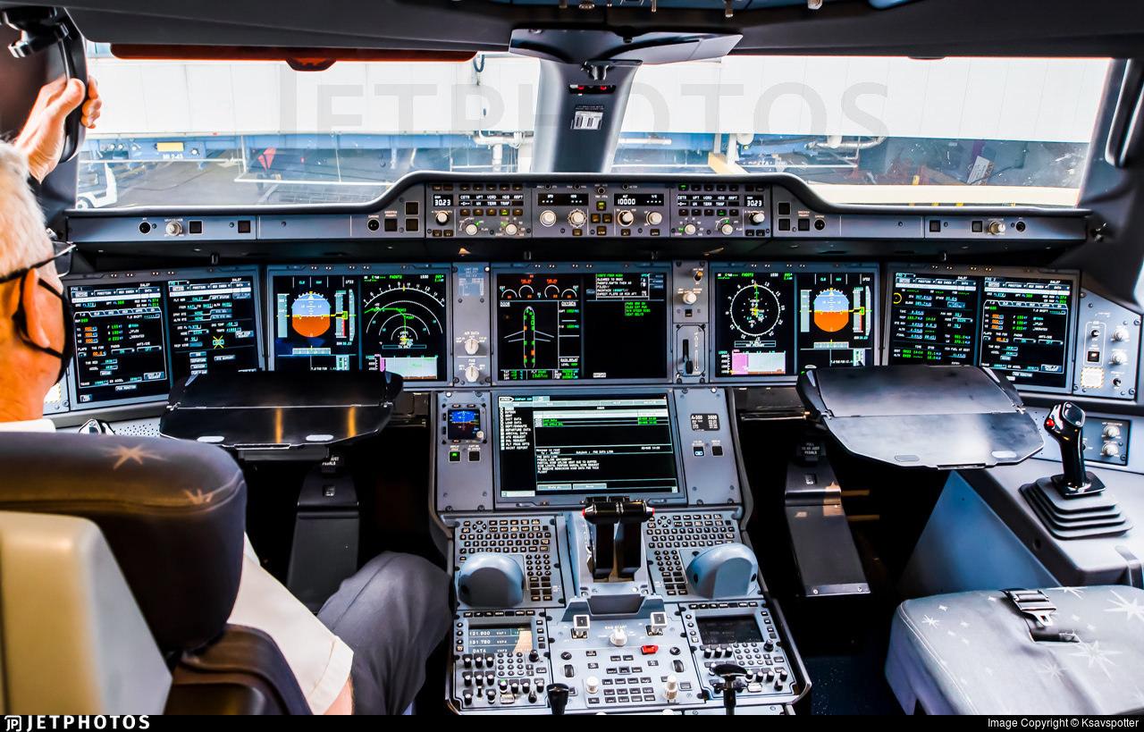 An Airbus A350 flight deck