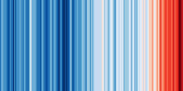 A series of vertical bars in various shades of blue and red, representing temperature changes. As the stripes move rightward, they grow redder — indicating climate change related temperature increases.